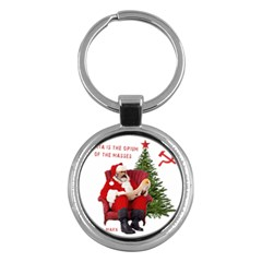 Karl Marx Santa  Key Chains (round)