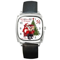 Karl Marx Santa  Square Metal Watch