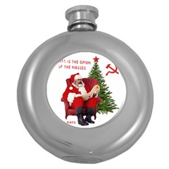 Karl Marx Santa  Round Hip Flask (5 Oz)