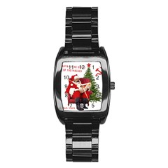 Karl Marx Santa  Stainless Steel Barrel Watch