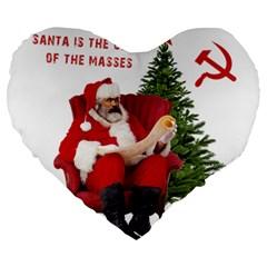 Karl Marx Santa  Large 19  Premium Flano Heart Shape Cushions