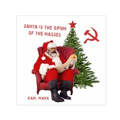 Karl Marx Santa  Small Satin Scarf (square)