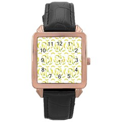 Chilli Pepers Pattern Motif Rose Gold Leather Watch