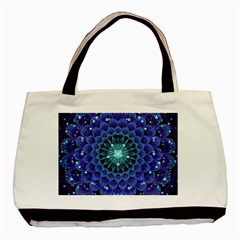 Accordant Electric Blue Fractal Flower Mandala Basic Tote Bag (two Sides)