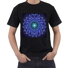 Accordant Electric Blue Fractal Flower Mandala Men s T Shirt (black)