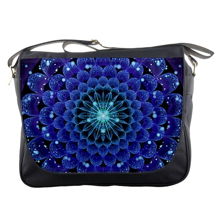 Accordant Electric Blue Fractal Flower Mandala Messenger Bags