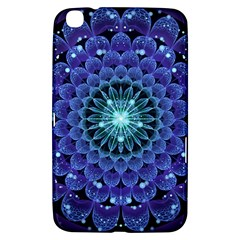 Accordant Electric Blue Fractal Flower Mandala Samsung Galaxy Tab 3 (8 ) T3100 Hardshell Case