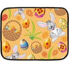 Easter Bunny And Egg Basket Double Sided Fleece Blanket (mini)