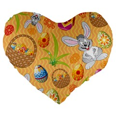 Easter Bunny And Egg Basket Large 19  Premium Heart Shape Cushions