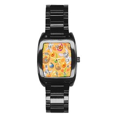 Easter Bunny And Egg Basket Stainless Steel Barrel Watch
