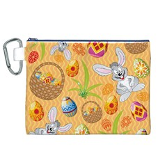 Easter Bunny And Egg Basket Canvas Cosmetic Bag (xl)