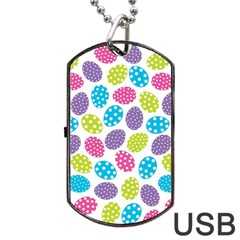 Polka Dot Easter Eggs Dog Tag Usb Flash (one Side)