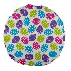 Polka Dot Easter Eggs Large 18  Premium Round Cushions