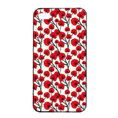 Red Flowers Apple Iphone 4/4s Seamless Case (black)
