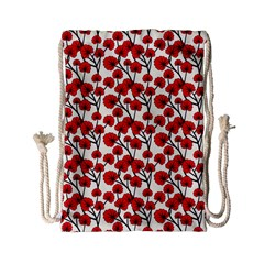 Red Flowers Drawstring Bag (small)