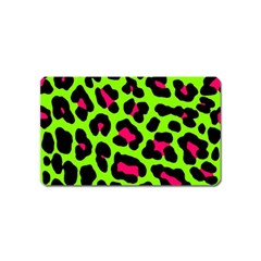 Neon Green Leopard Print Magnet (name Card)