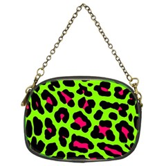 Neon Green Leopard Print Chain Purses (two Sides)