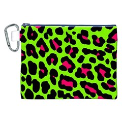 Neon Green Leopard Print Canvas Cosmetic Bag (xxl)
