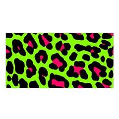 Neon Green Leopard Print Satin Shawl