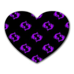Purple Pisces On Black Background Heart Mousepads