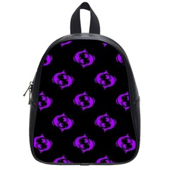 Purple Pisces On Black Background School Bag (small)