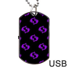 Purple Pisces On Black Background Dog Tag Usb Flash (two Sides)