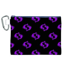 Purple Pisces On Black Background Canvas Cosmetic Bag (xl)