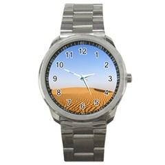 Desert Dunes With Blue Sky Sport Metal Watch