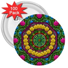 Bohemian Chic In Fantasy Style 3  Buttons (100 Pack)
