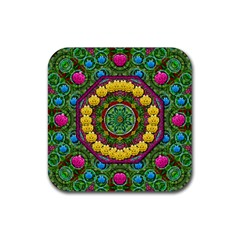Bohemian Chic In Fantasy Style Rubber Square Coaster (4 Pack)