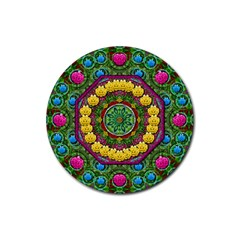 Bohemian Chic In Fantasy Style Rubber Round Coaster (4 Pack)
