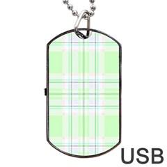 Green Pastel Plaid Dog Tag Usb Flash (two Sides)