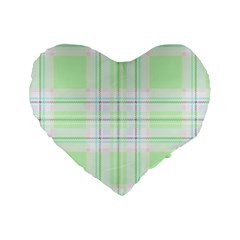 Green Pastel Plaid Standard 16  Premium Heart Shape Cushions