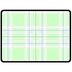 Green Pastel Plaid Double Sided Fleece Blanket (large)