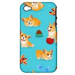 Corgi Pattern Apple Iphone 4/4s Hardshell Case (pc+silicone)