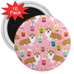 Corgi Bubble Tea Boba Tea Fabric Cute 3  Magnets (10 Pack)