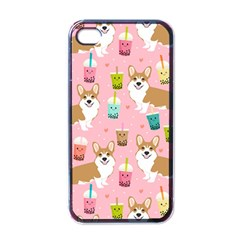 Corgi Bubble Tea Boba Tea Fabric Cute Apple Iphone 4 Case (black)