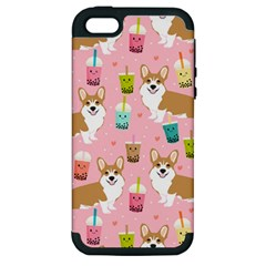 Corgi Bubble Tea Boba Tea Fabric Cute Apple Iphone 5 Hardshell Case (pc+silicone)