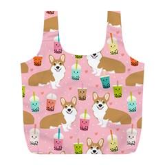 Corgi Bubble Tea Boba Tea Fabric Cute Full Print Recycle Bags (l)