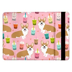 Corgi Bubble Tea Boba Tea Fabric Cute Samsung Galaxy Tab Pro 12 2  Flip Case