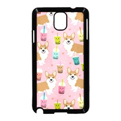 Corgi Bubble Tea Boba Tea Fabric Cute Samsung Galaxy Note 3 Neo Hardshell Case (black)