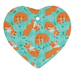 Corgi Dog Pattern Heart Ornament (two Sides)