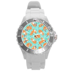 Corgi Dog Pattern Round Plastic Sport Watch (l)