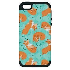 Corgi Dog Pattern Apple Iphone 5 Hardshell Case (pc+silicone)