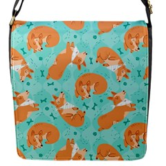 Corgi Dog Pattern Flap Messenger Bag (s)