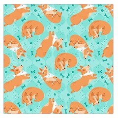 Corgi Dog Pattern Large Satin Scarf (square)