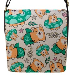 Corgi Beach Party Flap Messenger Bag (s)
