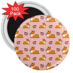 Corgi Peach Sploot Fabric 3  Magnets (100 Pack)