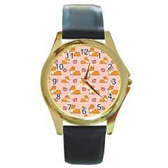 Corgi Peach Sploot Fabric Round Gold Metal Watch