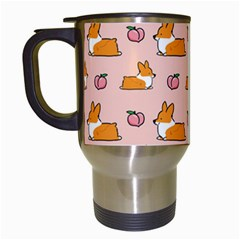 Corgi Peach Sploot Fabric Travel Mugs (white)